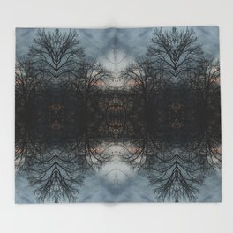 Stained Glass Trees Throw Blanket