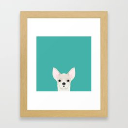 Chihuahua dog head pet art dog breed chihuahuas peeking Framed Art Print