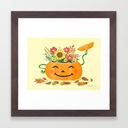 Floral Pumpkin Framed Art Print