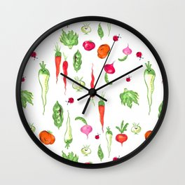 Veggie Party Pattern Wall Clock