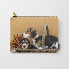 Two Beagle Puppies in Basket with Autumn Colored Flowers Carry-All Pouch