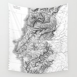 Vintage Map of Portugal (1818) BW Wall Tapestry