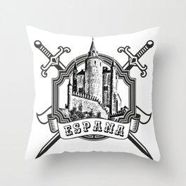 The logo of the Spain with Spanish castle (Alcazar, Segovia) and swords. Throw Pillow
