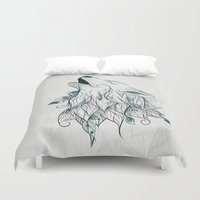 wolf Duvet Covers featuring Wolf by LouJah