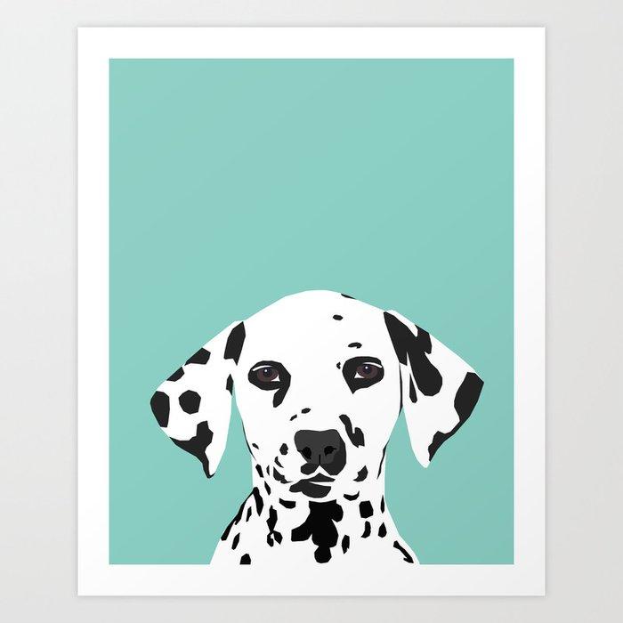Dalmatian cute puppy dog black and white mint pastel gender neutral pet owner gifts love animals Kunstdrucke