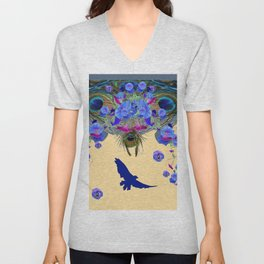 BLUE MORNING GLORIES & FLYING BLUE BIRD ART Unisex V-Neck