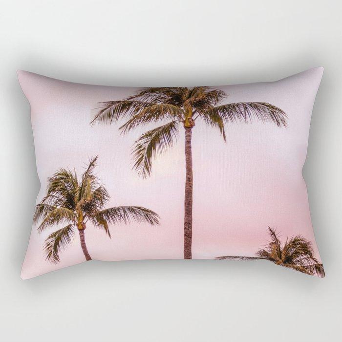 Palm Tree Photography | Landscape | Sunset Unicorn Clouds | Blush Millennial Pink Rectangular Pillow