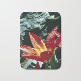 Fire & Ice - Red flower with morning dew Bath Mat