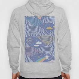 pattern rainbow abstract scales, sky clouds stars, simple scandinavian style. Nursery decor Hoody