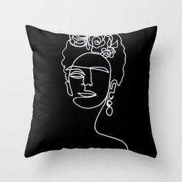 Frida Kahlo BW Throw Pillow