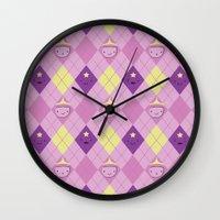 lumpy space princess Wall Clocks featuring Argyle Time! (Princess Bubblegum & Lumpy Space Princess version) by Kakibot