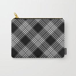 Black And White Tartan Plaid Carry-All Pouch