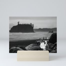 beach fire Mini Art Print