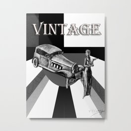 Vintage car and young woman, in black and white   Metal Print