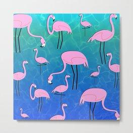 Flamingo Pond Metal Print
