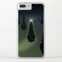 Christmas Tree Green Clear iPhone Case