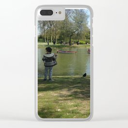 kid Paris feeding the birds Clear iPhone Case