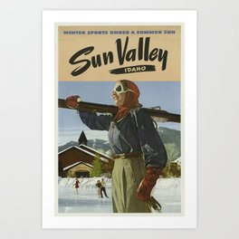 Sun Valley, Idaho, Winter Sports Under a Summer Sun - Vintage Sports Travel Poster Art Print
