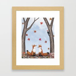 foxes, falling leaves, & pileated woodpecker Framed Art Print
