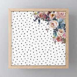 Boho Flowers and Polka Dots Framed Mini Art Print