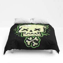 Toxic skull and crossbones green Comforters
