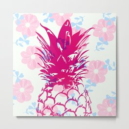 Beautiful Pineapple Flowers Pattern Metal Print