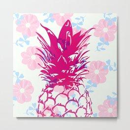 Beautiful Pineapple Flowers Pattern Metal Print