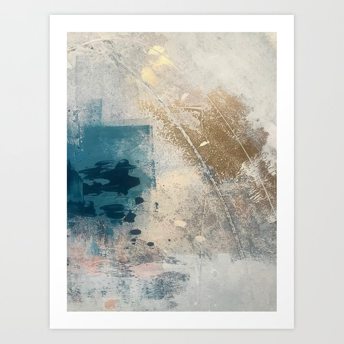 Embrace: a minimal, abstract mixed-media piece in blues and gold with a hint of pink Kunstdrucke