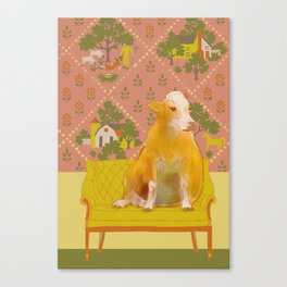 Farm Animals in Chairs #1 Cow Canvas Print