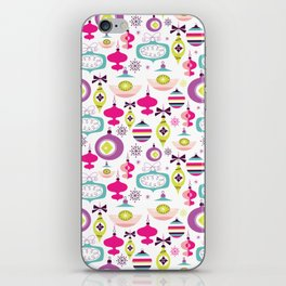 Retro Christmas Ornaments Holiday Pattern iPhone Skin
