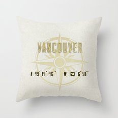 Vancouver - Vintage Map and Location Throw Pillow