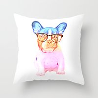 mike wrobel Throw Pillows featuring Mike by Babaganoosh