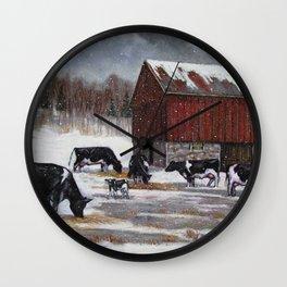 Holstein Dairy Cows in Snowy Barnyard; Winter Farm Scene No. 2 Wall Clock