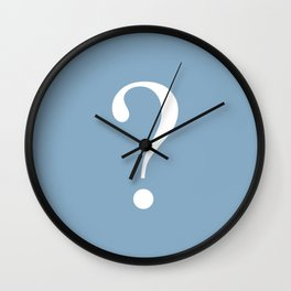 question mark on placid blue color background Wall Clock