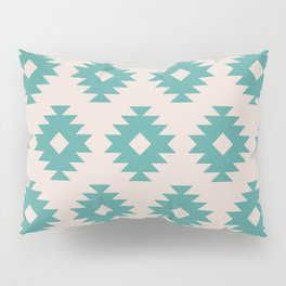 Southwestern Pattern 435 Beige and Turquoise Pillow Sham