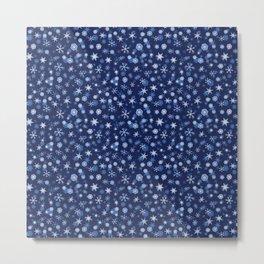 True Blue Snowflake Pattern Metal Print