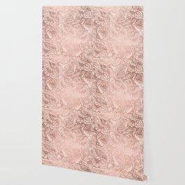 Modern rose gold floral illustration on blush pink Wallpaper