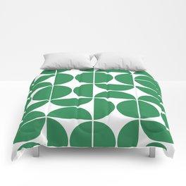 Mid Century Modern Geometric 04 Green Comforters