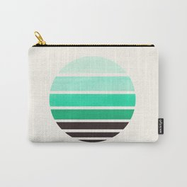 Teal Turquoise Mid Century Modern Minimalist Circle Round Photo Staggered Sunset Geometric Stripe De Carry-All Pouch