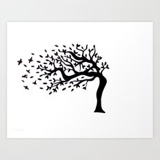 Tree Birds x2 Art Print