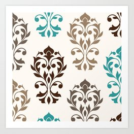 Heart Damask Art I Browns Teal Cream Art Print