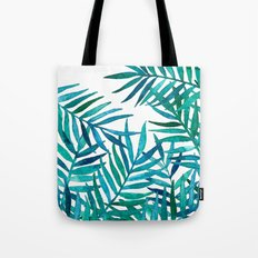 Watercolor Palm Leaves on White Tote Bag
