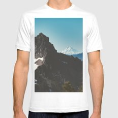 Blue Mountains and Forest - Mt. Hood from Mt. Rainier White MEDIUM Mens Fitted Tee