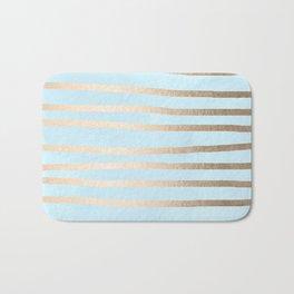 Abstract Drawn Stripes Gold Tropical Ocean Sea Turquoise Bath Mat