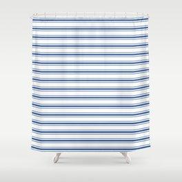 Mattress Ticking Wide Horizontal Stripe in Dark Blue and White Shower Curtain
