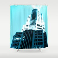 comic book Shower Curtains featuring Comic Book Chicago by A/B Photography