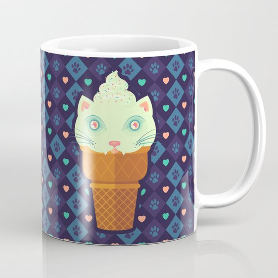 Strawberry-Mint Cat Coffee Mug