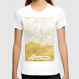 Lausanne Map Gold T-shirt