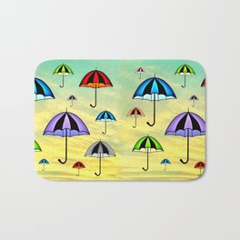 Colorful umbrellas flying in the sky Bath Mat