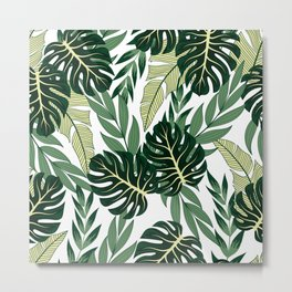 Summer seamless tropical pattern with bright plants and leaves on a light background.Tropical botanical. Jungle leaf seamless vector floral pattern background. Metal Print